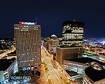 Downtown Dayton Ohio, Main Street at night. This is a high angle looking down.