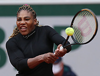 28th September 2020, Roland Garros, Paris, France; French Open tennis, Roland Garros 2020;  Serena Williams of the United States returns the ball during her womens singles first round match against Kristie Ahn of the United States at French Open