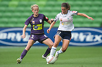 MELBOURNE, AUSTRALIA - DECEMBER 18: Ashley Brown of the Victory kicks the ball during the round 7 W-League match between the Melbourne Victory and the Perth Glory at AAMI Park on December 18, 2010 in Melbourne, Australia. (Photo Sydney Low / asteriskimages.com)
