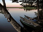 Canoes at a campsite along the St. Croix River, Maine, USA