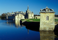 chateau, castle, France, Chantilly, palace, Picardie, Oise, Europe, Chateau de Chantilly, reflection