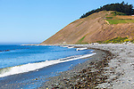 Historic Ebey Landing near Fort Ebey State Park.  Whibey Island, WA.  Boulders and surf.