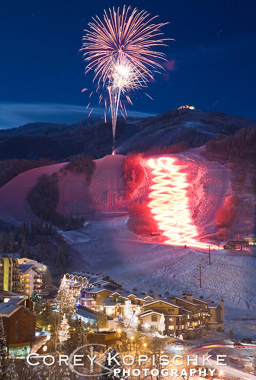 New Years eve torchlight parade and fireworks at the Steamboat ski area.