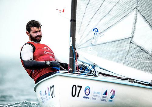 Oisin McClelland racing his Finn dinghy in Miami in January 2020
