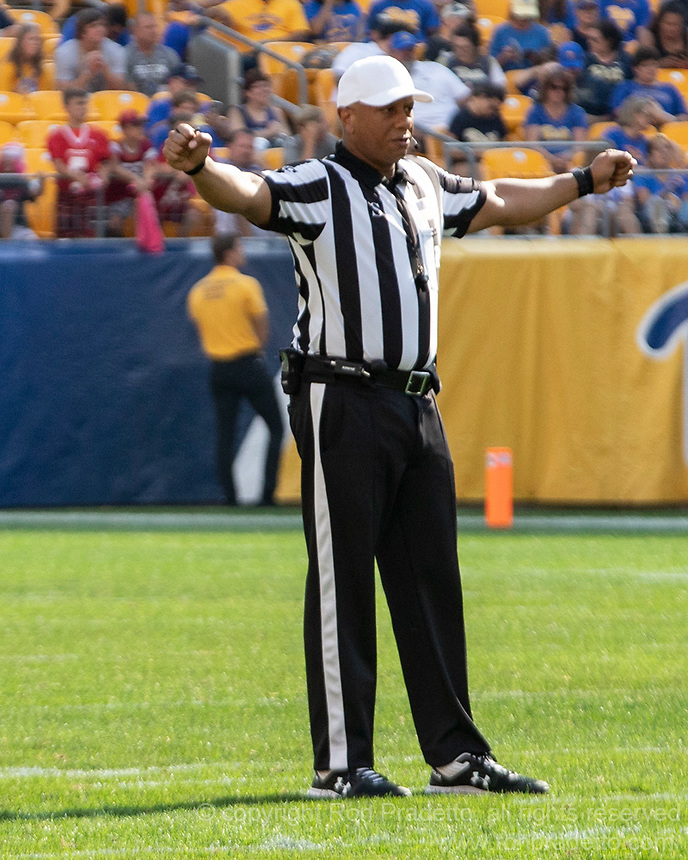 ACC football referee Marcus Woods. The Pitt Panthers defeated the Delaware Blue Hens 17-14 in a football game at Heinz Field in Pittsburgh, Pennsylvania on September 28, 2019.