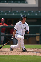 Detroit Tigers Cole Peterson (21) bats during a Minor League Spring Training game against the Philadelphia Phillies on April 17, 2021 at Joker Marchant Stadium in Lakeland, Florida.  (Mike Janes/Four Seam Images)