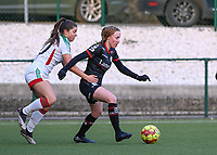 Noa Delhaye (12) of Zulte-Waregem pictured  in a duel with Luna Vanzeir (10) of OHL during a female soccer game between Oud Heverlee Leuven and SV Zulte-Waregem on the 16 th matchday of the 2020 - 2021 season of Belgian Womens Super League , sunday 14 th of March 2021  in Heverlee , Belgium . PHOTO SPORTPIX.BE | SPP | DAVID CATRY