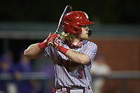 Carson Bartels (3) of the St. John's Red Storm at bat against the Western Carolina Catamounts at Childress Field on March 13, 2021 in Cullowhee, North Carolina. (Brian Westerholt/Four Seam Images)