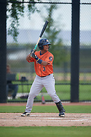 GCL Astros Sean Mendoza (3) at bat during a Gulf Coast League game against the GCL Nationals on August 9, 2019 at FITTEAM Ballpark of the Palm Beaches training complex in Palm Beach, Florida.  GCL Nationals defeated the GCL Astros 8-2.  (Mike Janes/Four Seam Images)