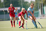 GER - Mannheim, Germany, May 05: During the women field hockey 1. Bundesliga match between Mannheimer HC (red) and Uhlenhorster HC Hamburg (light blue) on May 5, 2018 at Am Neckarkanal in Mannheim, Germany. Final score 1-3. (Photo by Dirk Markgraf / www.265-images.com) *** Local caption *** Lena Micheel #10 of Uhlenhorster HC Hamburg, Solvej Althof #40 of Mannheimer HC