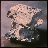 """Europe/France/Midi-Pyrénées/12/Aveyron: Fromage AOC Roquefort """"La Petite Cave"""" de Gabriel Coulet - Stylisme : Valérie LHOMME //   France, Aveyron, La Petite Cave de Gabriel Coulet cheese cellar, Roquefort AOC cheese (design by Valerie Lhomme)"""