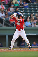 Center fielder Tate Matheny (16) of the Greenville Drive bats in a game against the Columbia Fireflies on Friday, April 22, 2016, at Fluor Field at the West End in Greenville, South Carolina. Columbia won, 5-3. (Tom Priddy/Four Seam Images)