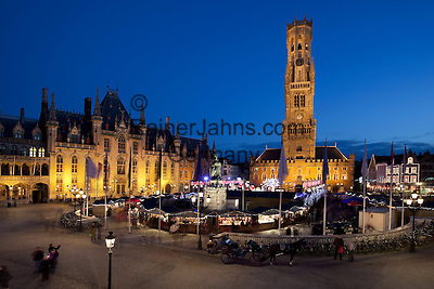 Belgium, West-Flanders, Bruges: Christmas Market in the Market Square with Bell Tower