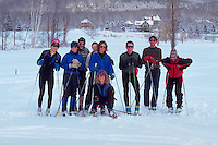 A group portrait of cross-country skiers. Jefferson, New Hampshire.