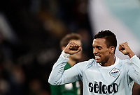 Calcio, Serie A: Lazio - Udinese, Roma, stadio Olimpico, 24 gennaio 2018.<br /> Lazio's Luis Carlos Nani celebrates after scoring with his teammates during the Italian Serie A football match between Lazio and Udinese at Rome's Olympic stadium, January 24, 2018.<br /> UPDATE IMAGES PRESS/Isabella Bonotto