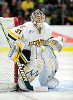 24 November 2009: University of Vermont Catamount goaltender Mike Spillane, a Senior from Bow, NH, in action against the University of Massachusetts Minutemen at Gutterson Fieldhouse in Burlington, Vermont. The Minutemen defeated the Catamounts 6-2. Mandatory Credit: Ed Wolfstein Photo