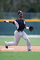 GCL Yankees East shortstop Yonauris Rodriguez (19) throws to first during a game against the GCL Pirates on August 15, 2016 at the Pirate City in Bradenton, Florida.  GCL Pirates defeated GCL Yankees East 5-2.  (Mike Janes/Four Seam Images)