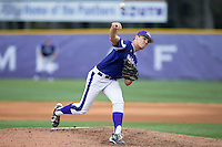 High Point Panthers starting pitcher Trevor Holloway (4) delivers a pitch to the plate against the NJIT Highlanders during game two of a double-header at Williard Stadium on February 18, 2017 in High Point, North Carolina.  The Highlanders defeated the Panthers 4-2.  (Brian Westerholt/Four Seam Images)