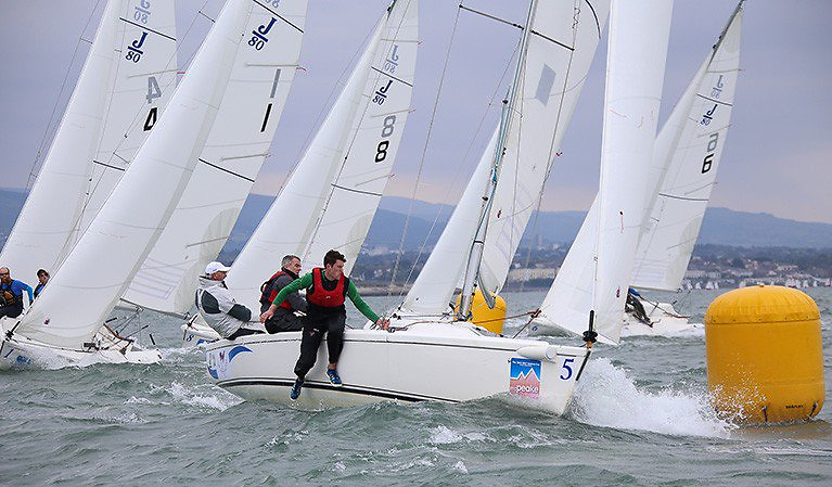 In 2015, Anthony O'Leary retained the title, driving J / 80s again, but this time in Dublin Bay at the National YC.  Photo: Afloat.ie/David O'Brien