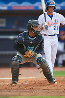 Charlotte Stone Crabs catcher David Rodriguez (13) during the first game of a doubleheader against the St. Lucie Mets on April 24, 2018 at First Data Field in Port St. Lucie, Florida.  St. Lucie defeated Charlotte 5-3.  (Mike Janes/Four Seam Images)