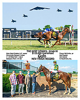 Gufo winning The Grade 3 Kent Stakes at Delaware Park on 7/4/20 in New Track Record time of 1:46.4 for 1 1/8 Miles on the Turf<br /> Moments before this race there was a military flyover on their way to Washington DC for the 4th of July celebrations.