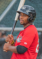 31 August 2016: Tri-City ValleyCat catcher Chuckie Robinson awaits his turn in the batting cage prior to a game against the Vermont Lake Monsters at Centennial Field in Burlington, Vermont. The Lake Monsters defeated the ValleyCats 5-3 in NY Penn League action. Mandatory Credit: Ed Wolfstein Photo *** RAW (NEF) Image File Available ***