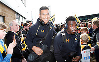 Photo: Richard Lane/Richard Lane Photography. Wasps v Leicester Tigers. Aviva Premiership. 12/03/2016. Wasps' Nathan Hughes and Christian Wade are welcomed by the supporters.