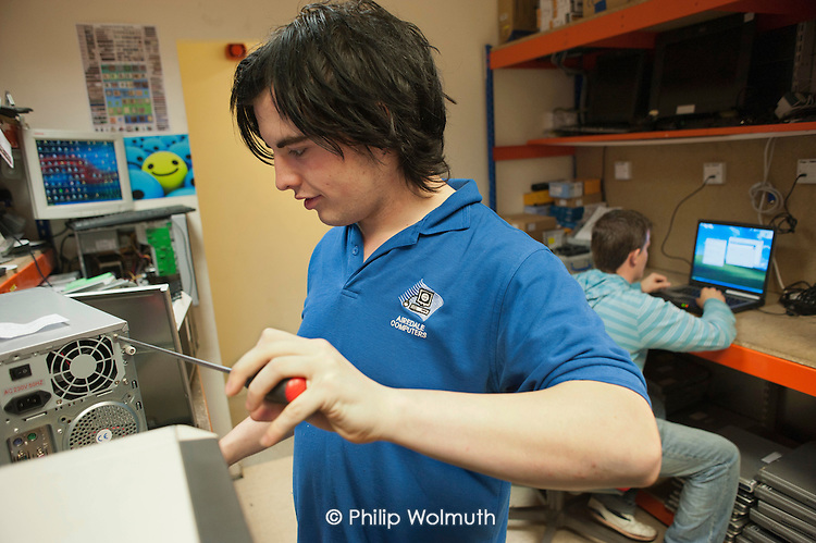 NVQ Level 3 apprentice IT Practitioners on placement at Airedale Computers, a computer recycling business run by social enterprise Chrysalis, Castleford, South Yorkshire. Income from Airedale Computers and Airedale Motors finances Chrysalis's training porgrammes.