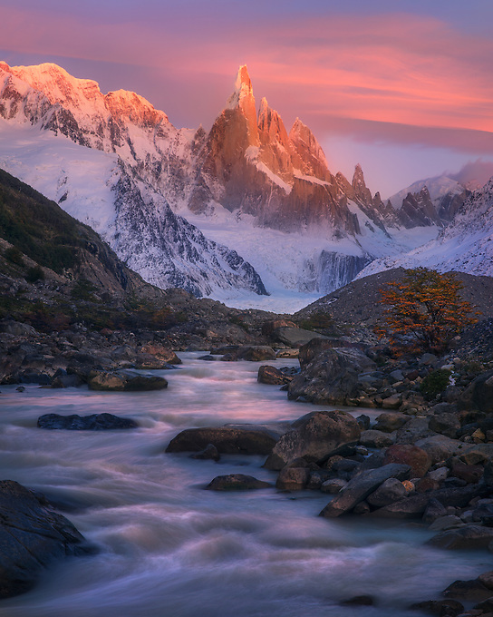 Glaciated waters under the alpenglow of sunrise light on Cerro Torre, puncuated by vibrant fall color.