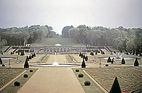 Panoramic view of Palace of Versailles and gardens with fountains and walkways. Versailles France
