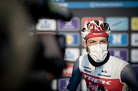defending champion Jasper Stuyven (BEL/Trek-Segafredo) interviewed at the no-fans-allowed (due to Covid-19) team presentation of the 76th Omloop Het Nieuwsblad 2021<br /> ME(1.UWT)<br /> 1 day race from Ghent to Ninove (BEL): 200km<br /> <br /> ©kramon