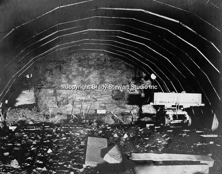 Hopedale OH:  View of the inside of the Spellacy Tunnel.  It took a camera exposure of 40 minutes to capture this image.  The Pittsburgh, Toledo, and Western Railroad Company, owned by the famous George J. Gould,  hired Brady Stewart to document the track and tunnel construction between Hopedale Ohio, and downtown Pittsburgh.