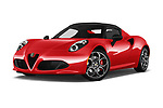 Stock pictures of low aggressive front three quarter view of 2018 Alfaromeo 4C - 2 Door Convertible Low Aggressive