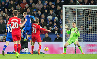 Goalkeeper Simon Mignolet of Liverpool saves from Jamie Vardy of Leicester City  during the Premier League match between Leicester City and Liverpool at the King Power Stadium, Leicester, England on 27 February 2017. Photo by Andy Rowland / PRiME Media Images.