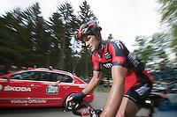 Steven Cummings (GBR/BMC) up the Côte de Wanne<br /> <br /> Liège-Bastogne-Liège 2014