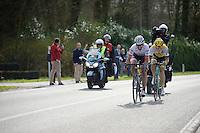 Fabian Cancellara (SUI/Trek-Segafredo) & Sep Vanmarcke (BEL/LottoNL-Jumbo) chasing down race leader Peter Sagan in the last 5km of the race<br /> <br /> 100th Ronde van Vlaanderen 2016