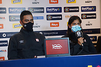 BOGOTA - COLOMBIA, 12-12-2020: Andres Usme y Catalina Usme del América durante rueda de prensa previo al encuentro entre Independiente Santa Fe Y América de Cali por la final vuelta como parte de la Liga Femenina BetPlay DIMAYOR 2020 en la ciudad de Bogotá. / Andres Usme and Catalina Usme of America during press conference prior a second leg final match between Independiente Santa Fe and America de Cali as part of Women's BetPlay DIMAYOR 2020 League in Bogota city. Photo: VizzorImage / Daniel Garzon / Cont