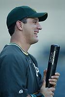 Erubiel Durazo of the Oakland Athletics during a 2003 season MLB game at Angel Stadium in Anaheim, California. (Larry Goren/Four Seam Images)
