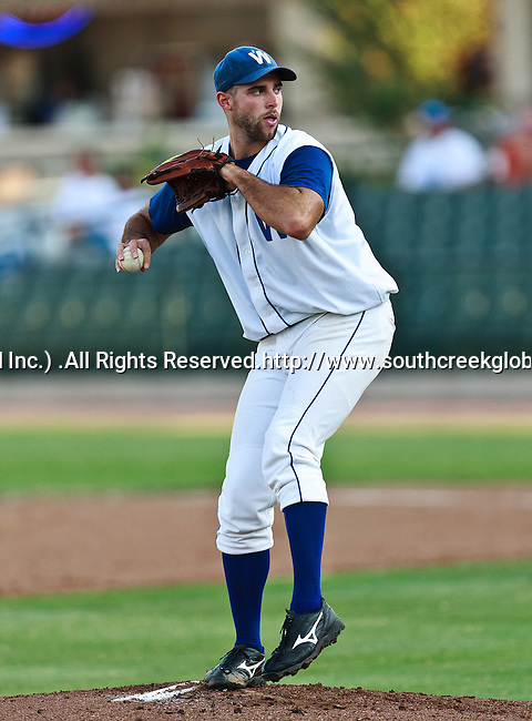 Fort Worth Cats Pitcher Wade Mackey (45) in action during the American Association of Independant Professional Baseball game between the El Paso Diablos and the Fort Worth Cats at the historic LaGrave Baseball Field in Fort Worth, Tx. Fort Worth defeats El Paso 10 to 9.
