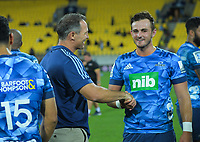 Blues head coach Leon McDonald congratulates Harry Plummer after the Super Rugby match between the Hurricanes and Blues at Sky Stadium in Wellington, New Zealand on Saturday, 7 March 2020. Photo: Dave Lintott / lintottphoto.co.nz