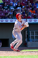 Peoria Chiefs first baseman Josh Shaw (29) swings at a pitch during a Midwest League game against the Cedar Rapids Kernels on May 26, 2019 at Perfect Game Field in Cedar Rapids, Iowa. Cedar Rapids defeated Peoria 14-1. (Brad Krause/Four Seam Images)