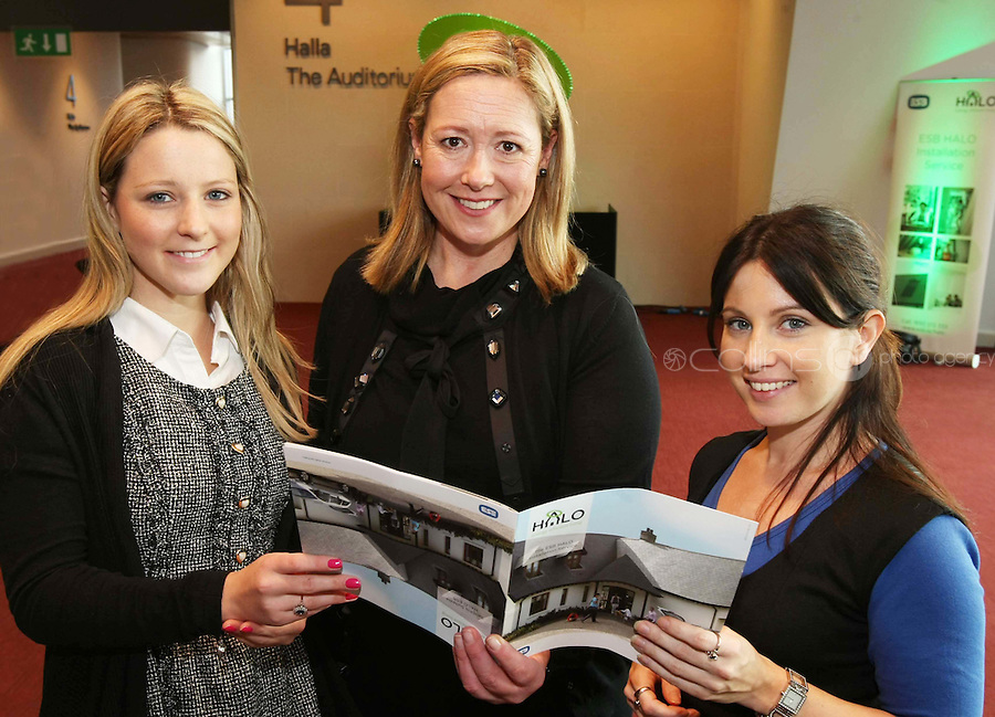 08/11/'10 **NO FEE FOR REPRODUCTION**From left, Aine McCarthy of Codema, Mo Durkan of ESB and Suzanne Morgan of Codema pictured at the launch of the ESB HALO Service at the National Convention Centre this morning. ESB HALO is the new inovative, home energy efficiency service designed to meet the energy needs of homeowners throughout the country. HALO Installation Service is a total one-stop solution to home energy needs, from insulating your walls to solar panels on the roof. ESB HALO provides homeowners with the products and installation services they need to meximise savings and minimise their carbon footprint...Picture Colin Keegan, Collins, Dublin.