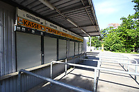 16th May 2020, Commerzbank-Arena, Frankfurt, Germany; Bundesliga football, Eintracht Frankfurt versus Borussia Moenchangladbach;  Closed ticket box offices behind the Commerzbank Arena at the ghost game