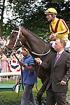 Rachel Alexandra and Calvin Borel in the paddock before the Mother Goose at Belmont Park 6/27/09.