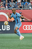 FOXBOROUGH, MA - SEPTEMBER 29: Heber #9 of New York City FC brings the ball forward during a game between New York City FC and New England Revolution at Gillettes Stadium on September 29, 2019 in Foxborough, Massachusetts.