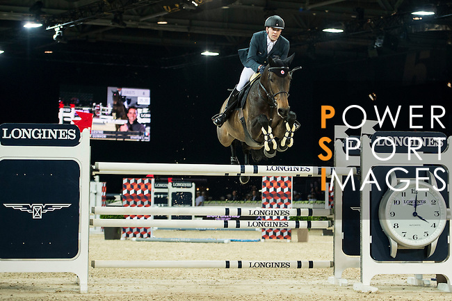 Simon Delestre on Stardust Quinhon competes during competition Table A Against the Clock at the Longines Masters of Hong Kong on 19 February 2016 at the Asia World Expo in Hong Kong, China. Photo by Li Man Yuen / Power Sport Images