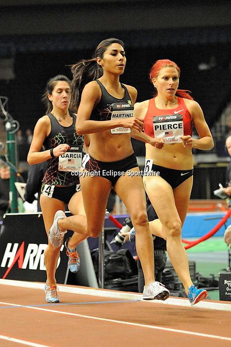 Brenda Martinez wins the women's one mile run at the first U.S. Open on January 29, 2012 at Madison Square Garden in New York, New York.  (Bob Mayberger/Eclipse Sportswire)