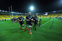 Patrick Tuipulotu leads the North team in before the rugby match between North and South at Sky Stadium in Wellington, New Zealand on Saturday, 5 September 2020. Photo: Dave Lintott / lintottphoto.co.nz