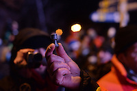 A rioter shows a baton roound  used by the riot police to disperse the demonstrators during the  violent protest against new draconian law to ban protestsacross the country.  Kiev. Ukraine