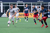 FOXBOROUGH, MA - JULY 25: Djordje Mihailovic #8 of CF Montreal during a game between CF Montreal and New England Revolution at Gillette Stadium on July 25, 2021 in Foxborough, Massachusetts.